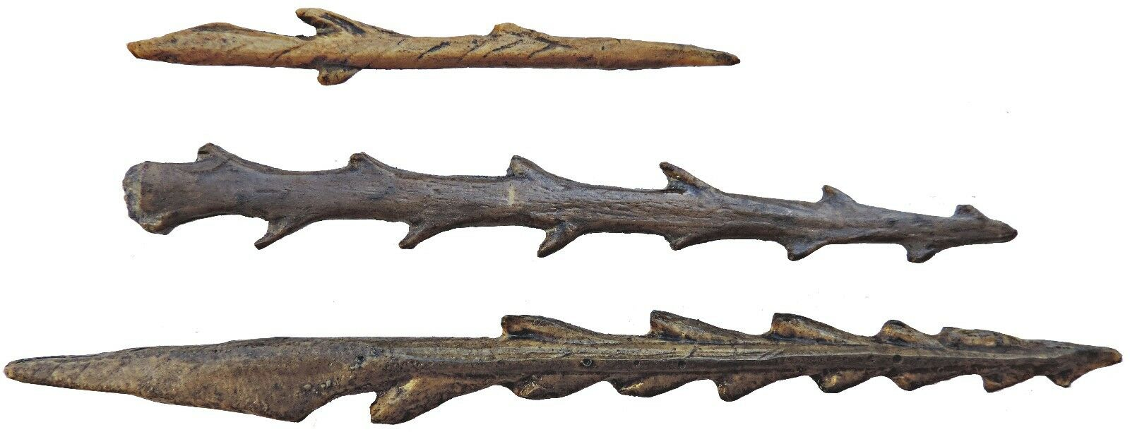Set of 3 toothed harpoons - casts of resin