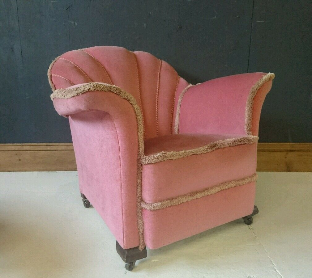French Pink Shell back small lounge or Bedroom Chair Very Clean Antique Art Deco