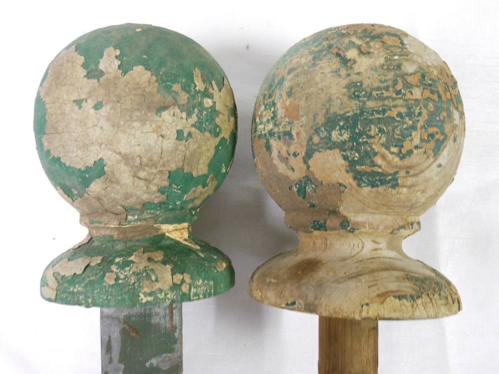 Architectural Salvage Antique Wood Chippy Paint Newel Post Ball Finials