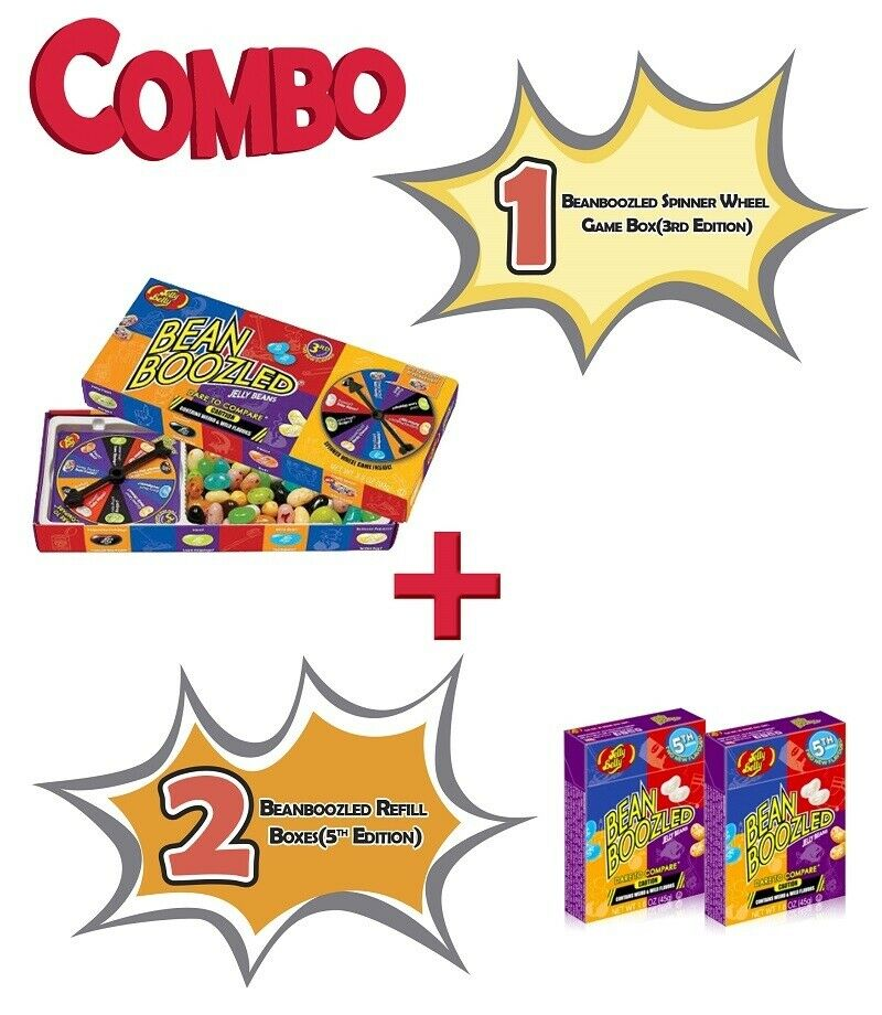Jelly Belly Bean Boozled 1 Spinner Wheel Game)3rd) + 2 Refill boxes 4th Edition