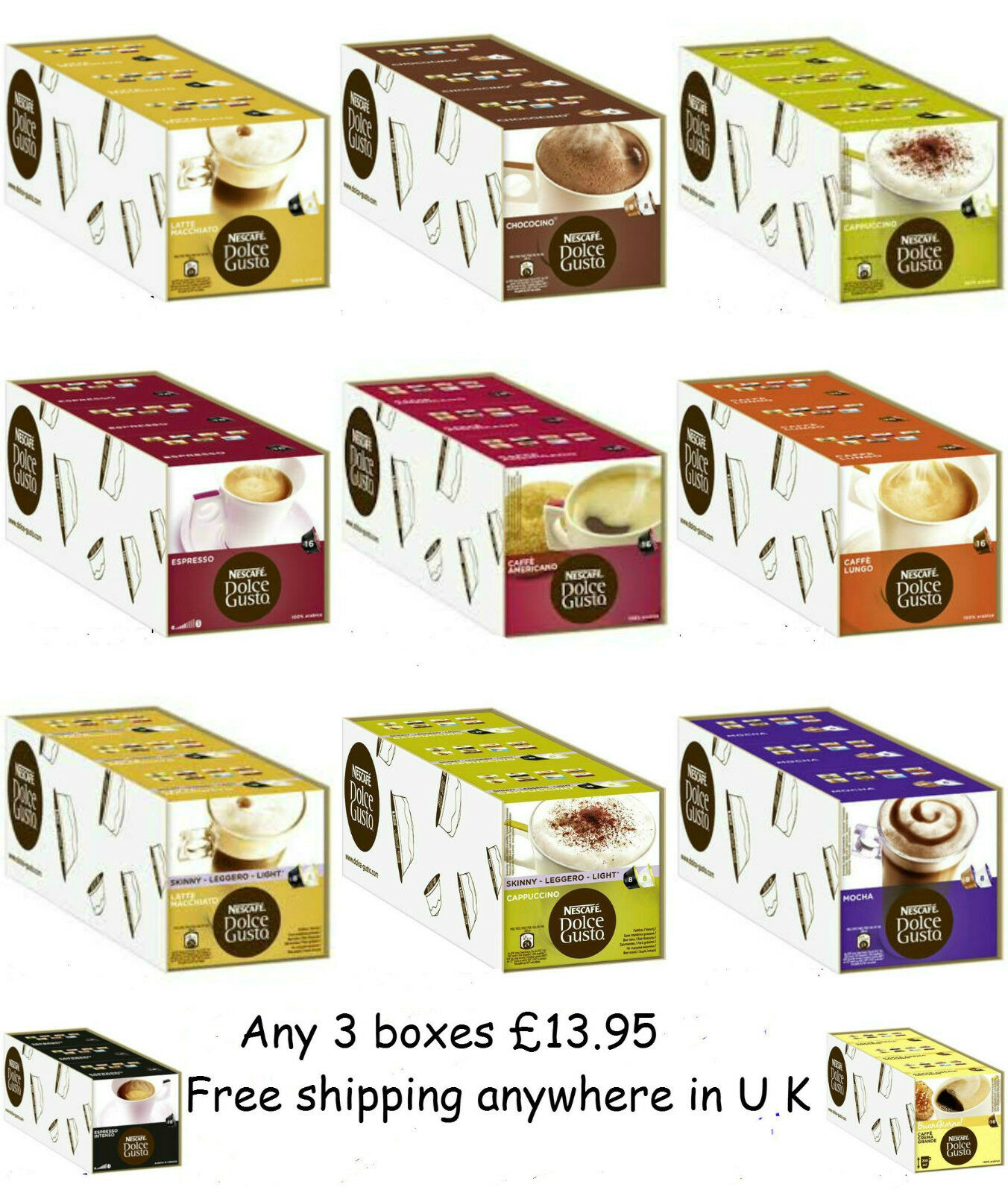 Nescafe Dolce Gusto Coffee Capsules- 3 Box Of 16 Pods - Choice From 11 Flavours