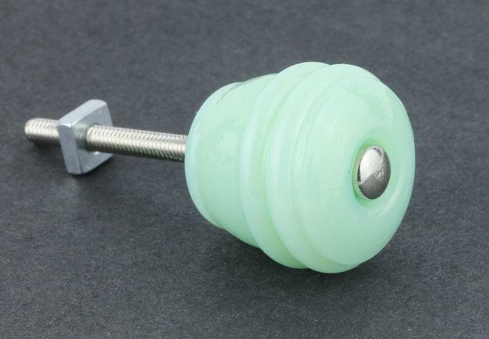 """WHOLESALE LOT 10 Jadeite Green Milk Glass KNOBS 1-1/8"""" FREE EXPEDITED Shipping"""