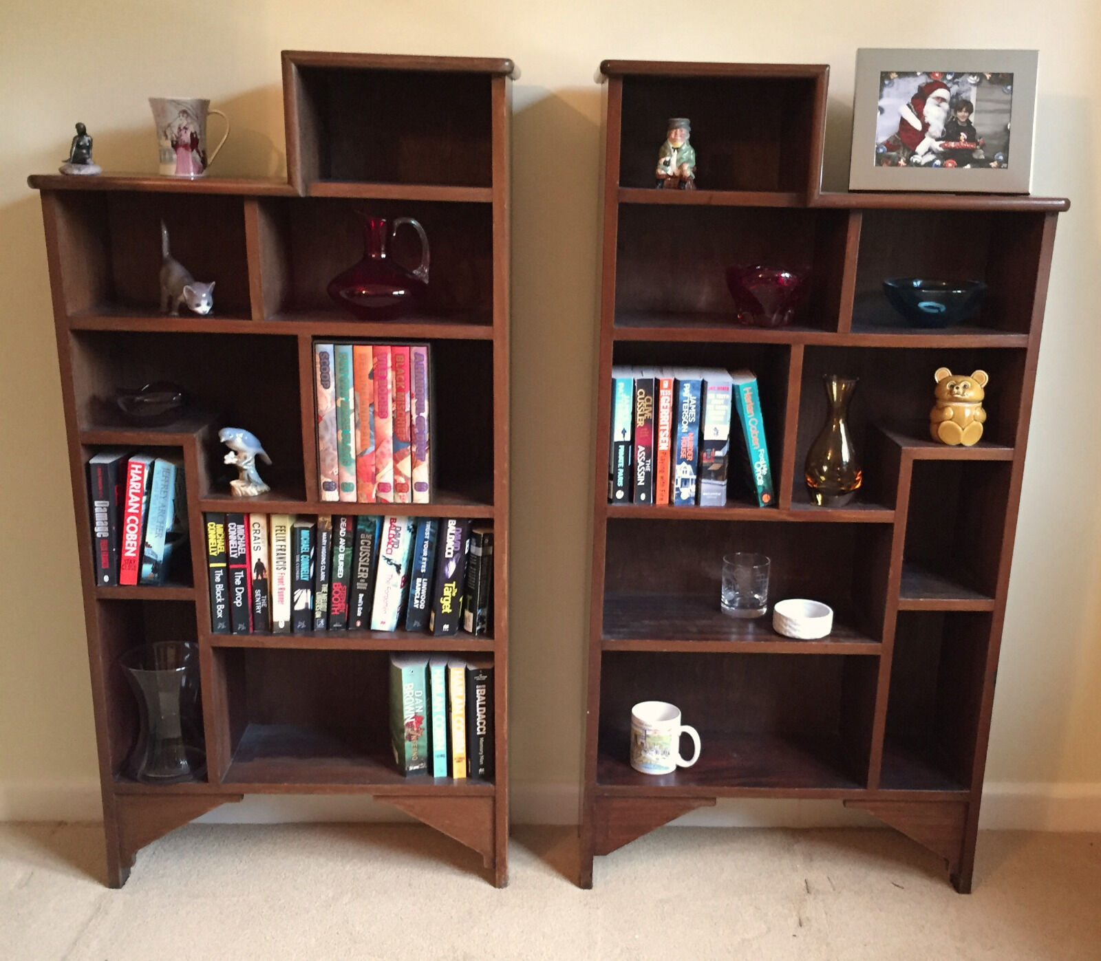PAIR of BESPOKE ANTIQUE BOOKCASES. TOTALLY UNIQUE EDWARDIAN ART DECO SOLID WOOD.