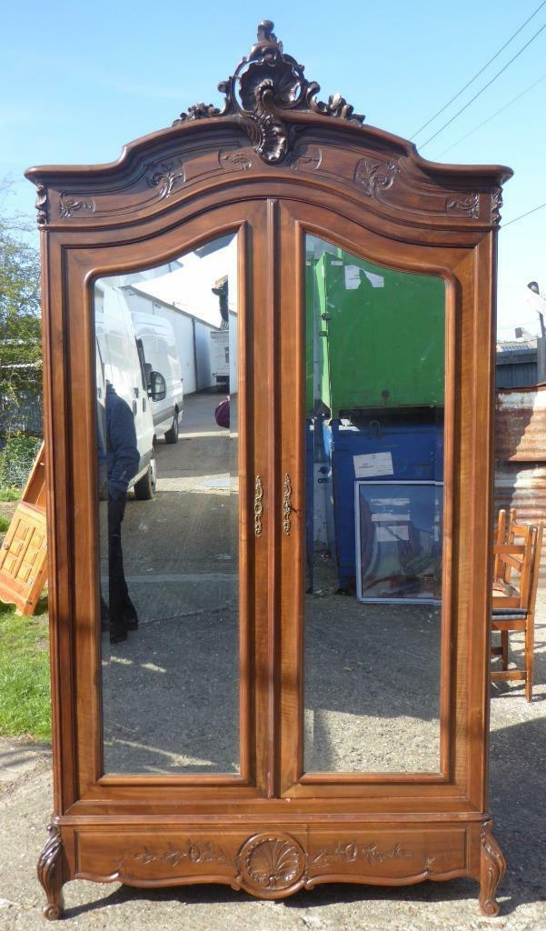 19th Century Walnut Rococo Two Door Armoire - Unusual Deep Model -  No. 226