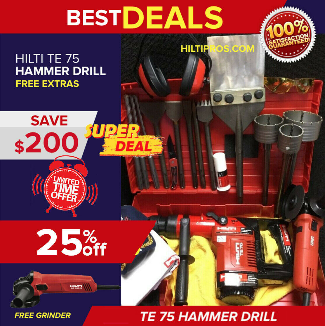 1 of 12Only 2 available Hilti Te 75 Hammer Drill, Great Condition, Free  Hilti Grinder,extras, Fast