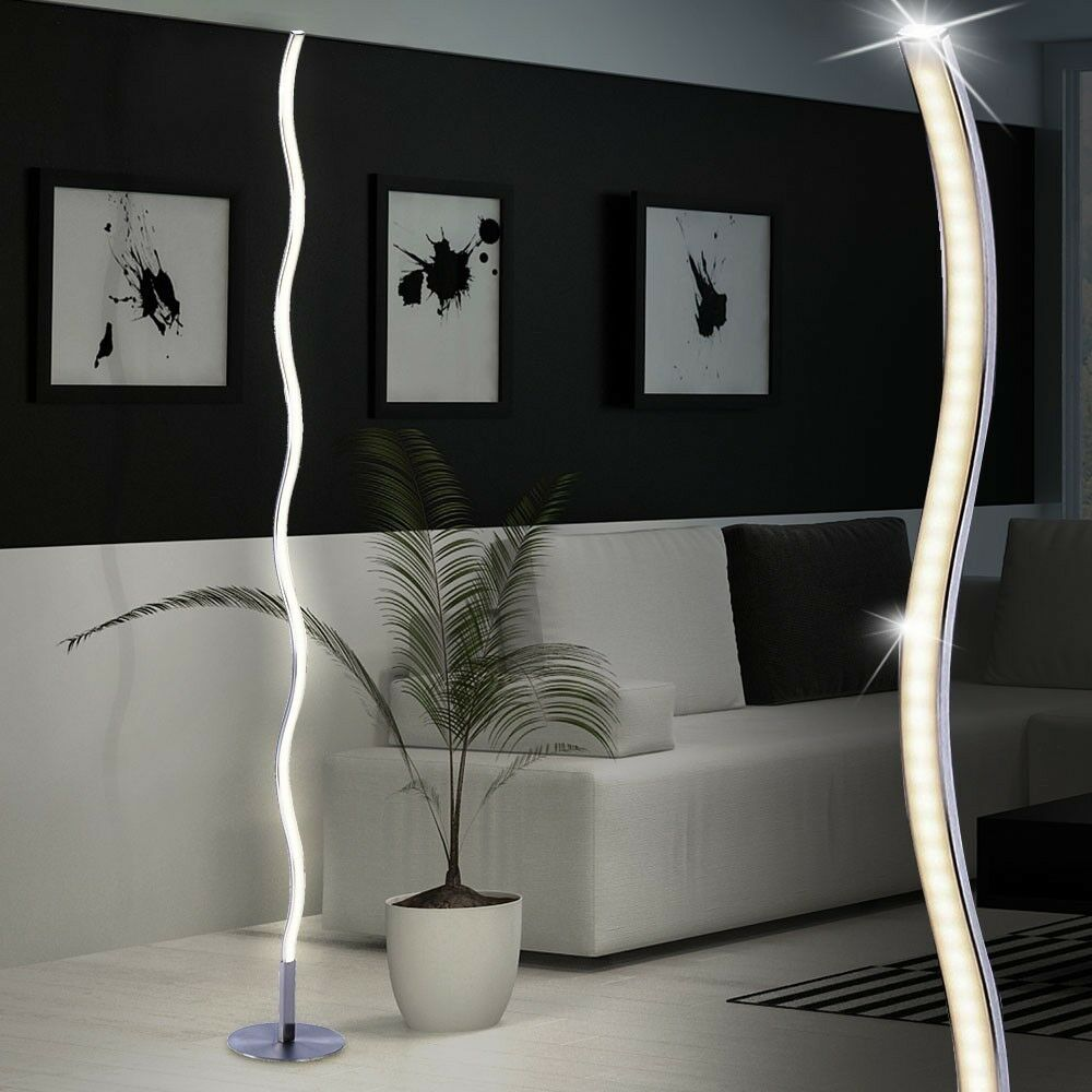 led 12 watt lampadaire ondes lumineuses salon de lecture debout luminaire argent eur 59 50. Black Bedroom Furniture Sets. Home Design Ideas