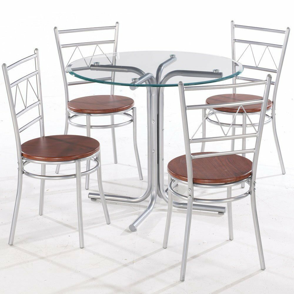 Round glass and chrome dining table set with 4 wood and for Round glass and chrome dining table