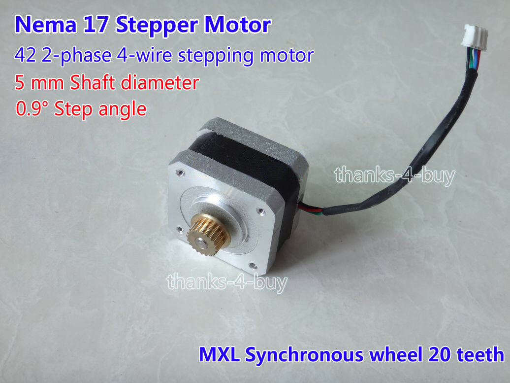 NEMA 17 2-PHASE 4-Wire Stepper Motor For 5mm Pulley CNC Prusa Peprap ...