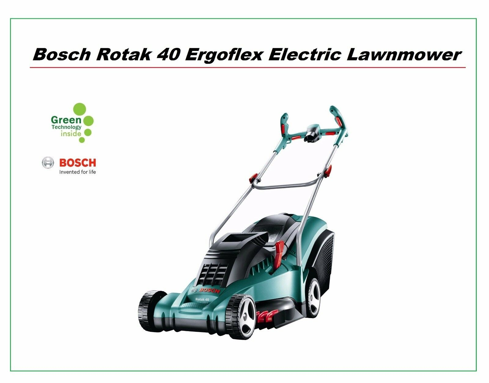 bosch rotak 40 17 ergoflex electric lawnmower 40cm metal blade and rear roller. Black Bedroom Furniture Sets. Home Design Ideas