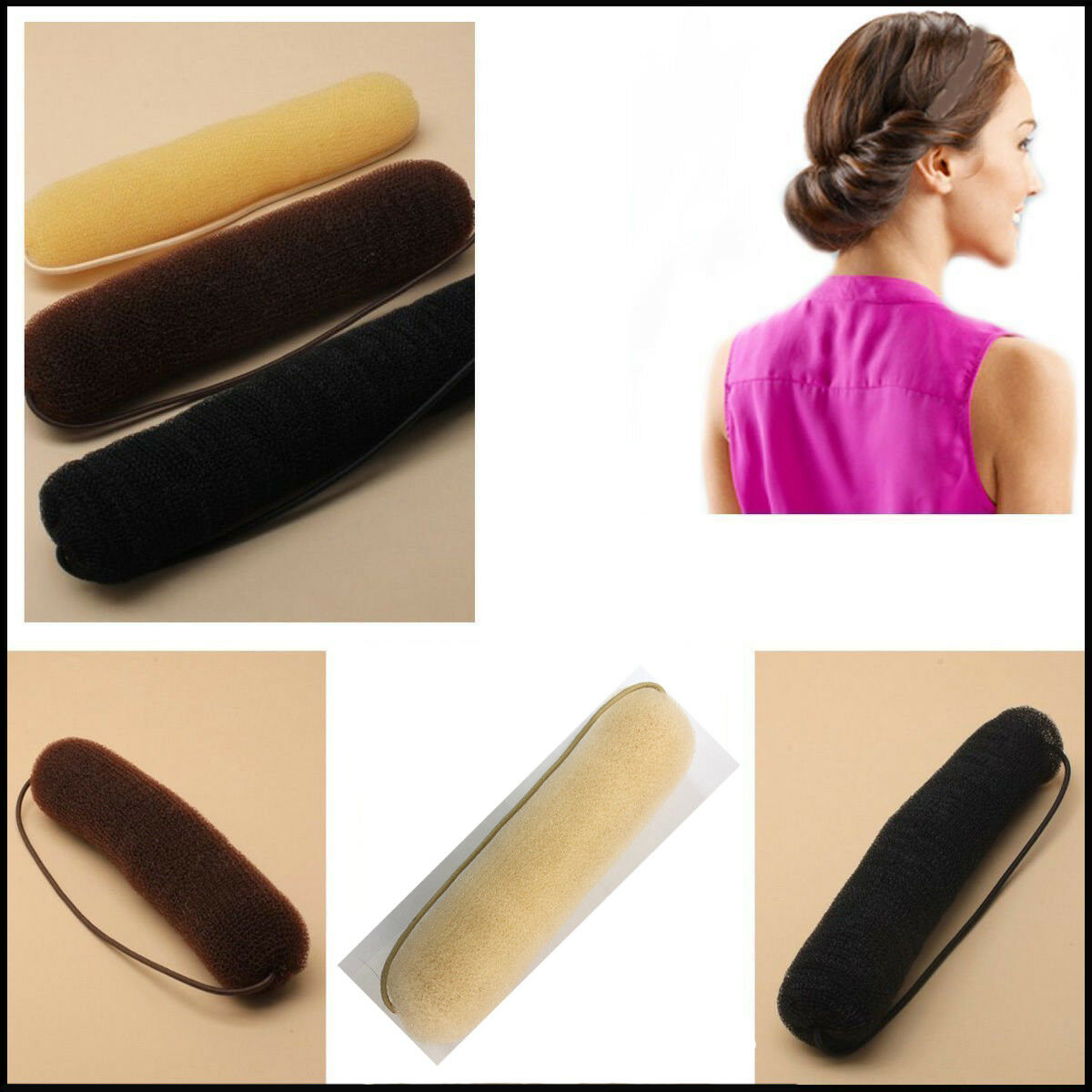 the wrap up hair styling sponge bump up hair bun sponge style roll on elastic 6252