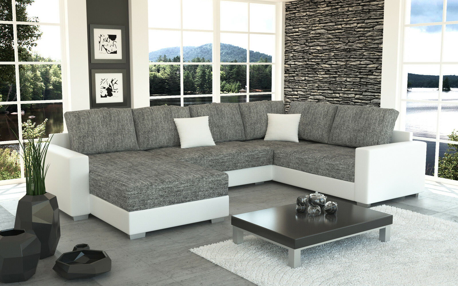 Couch garnitur ecksofa sofagarnitur sofa sty 4 u for Ecksofa couch