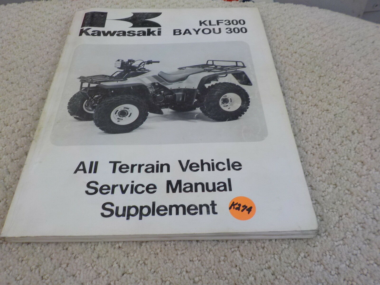Kawasaki 1987-1996 Klf300, Bayou 300 Atv Service Manual 99924 1100-53 ( 1  of 1Only 1 available ...