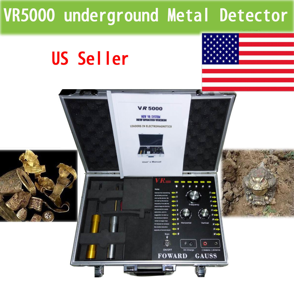 New Gold Metal Detector Underground Vr5000 Hunter Sliver Copper Long Professional Detectors Detecting Range King 1 Of 12only 3 Available