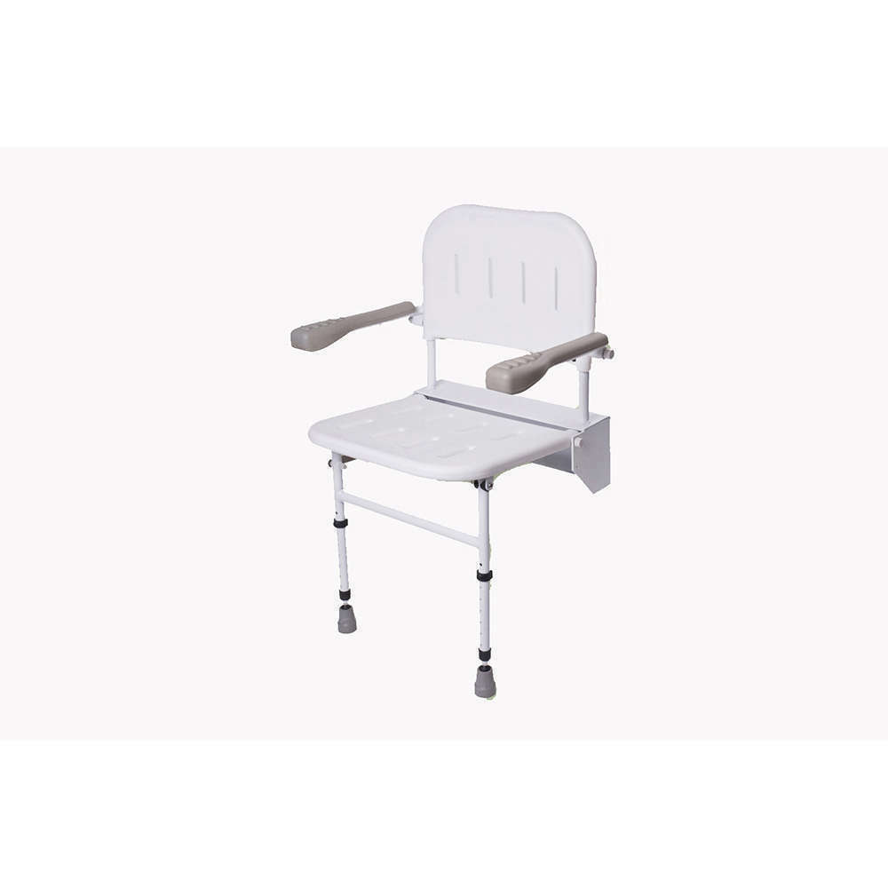 NRS HEALTHCARE WALL Mounted Folding Shower Seat M53370 - with Legs ...