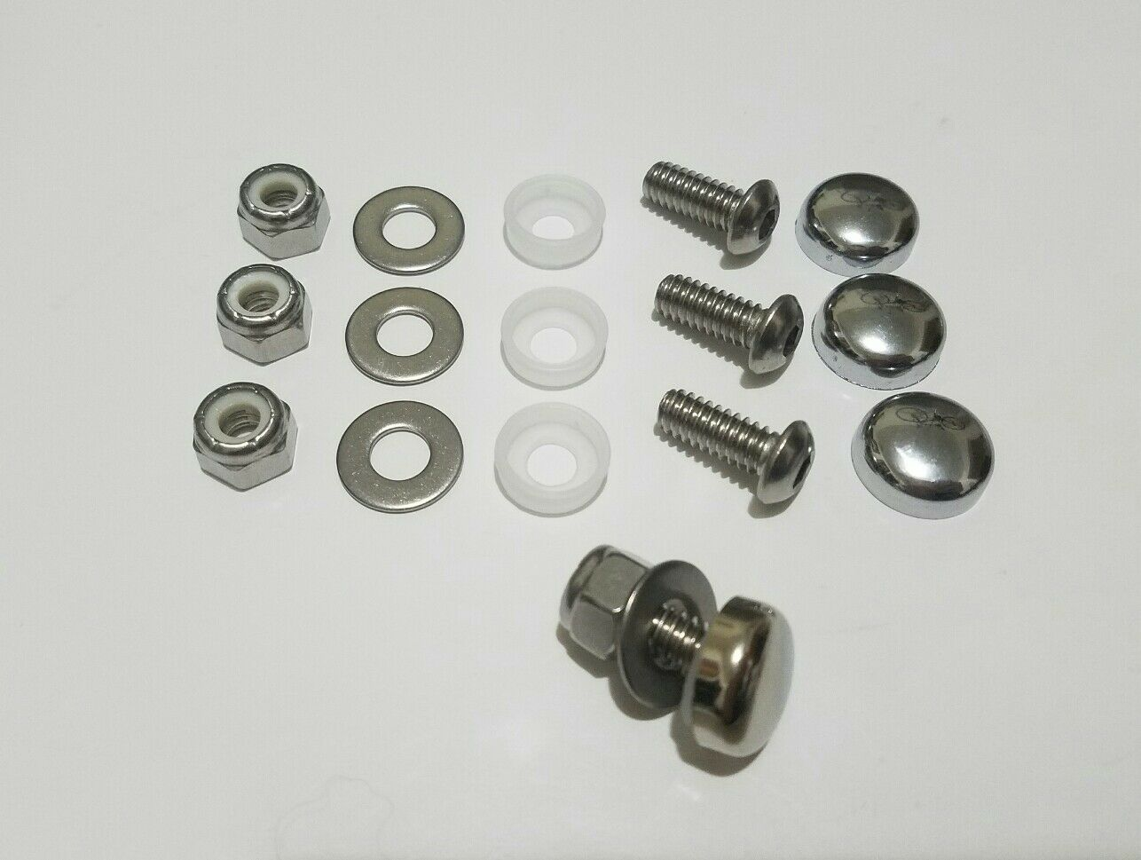 CHROME 4PC MOTORCYCLE License Plate Frame Bolts Cap Cover Fastener ...
