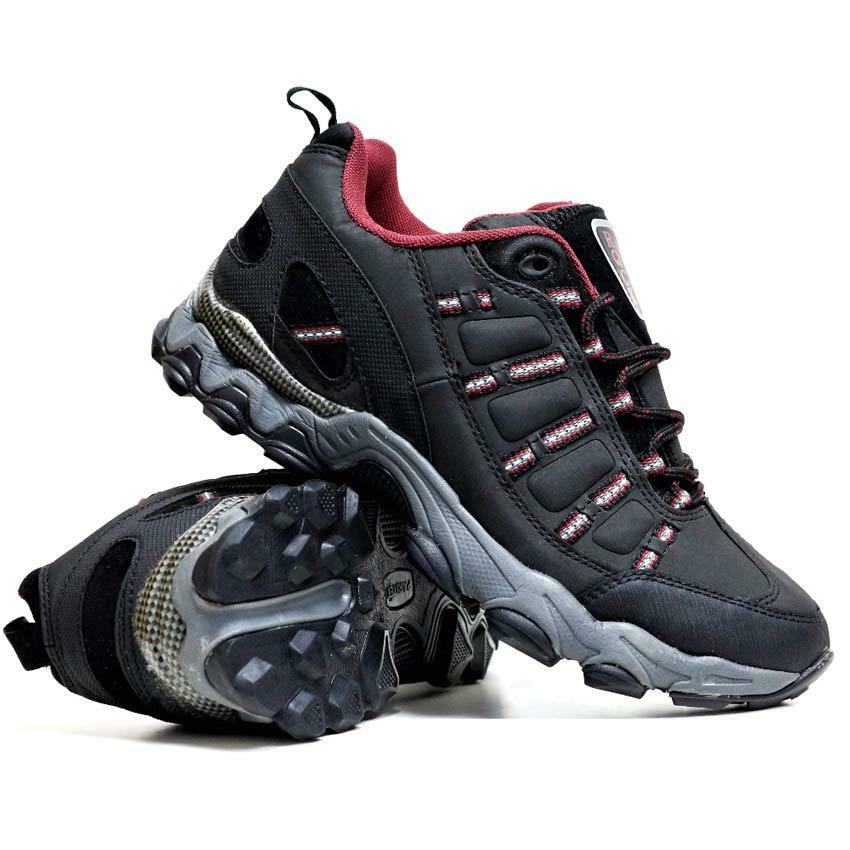 mens hiking boots walking ankle lace up trail black