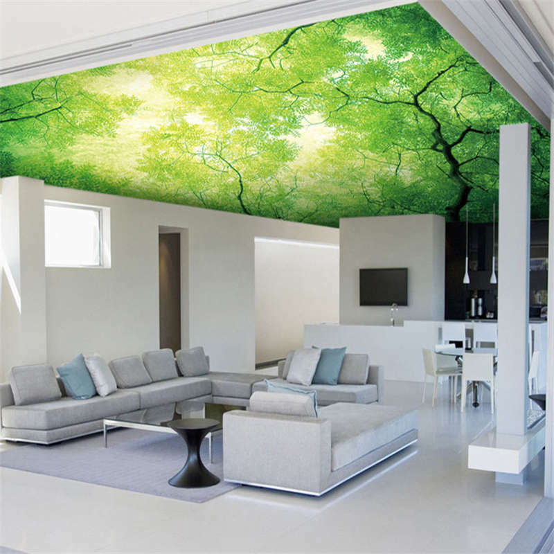 Sky tree green leave full wall ceiling mural photo for Ceiling mural decal