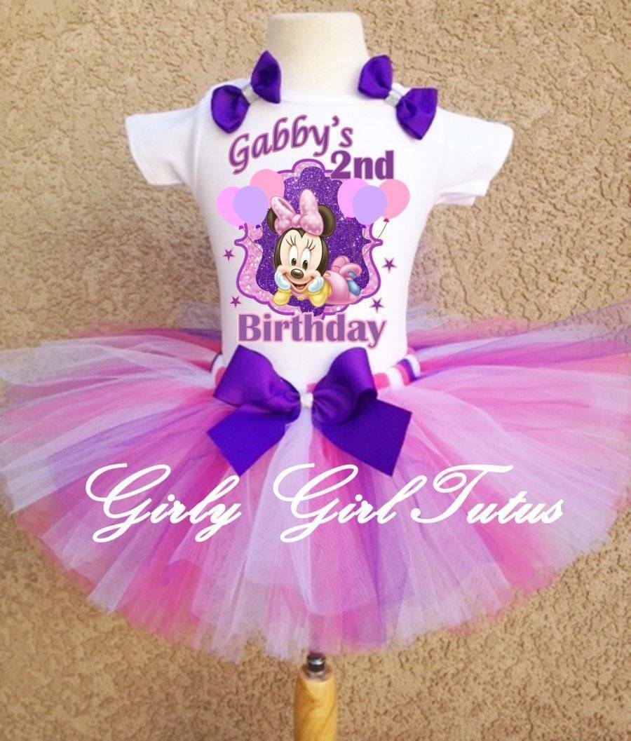 Baby Girl Minnie Mouse 1st Or 2nd Birthday Tutu Outfit Party Dress Flower Pink 0 2th Set 1 Of 1only 5 Available