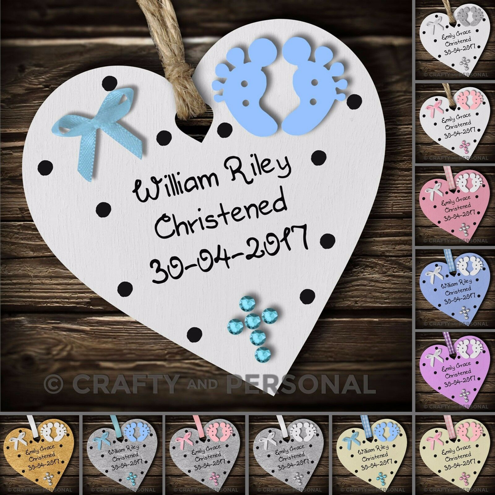 Baptism Heart Ornament: PERSONALISED BABY'S CHRISTENING Gift Plaque Baptism Heart