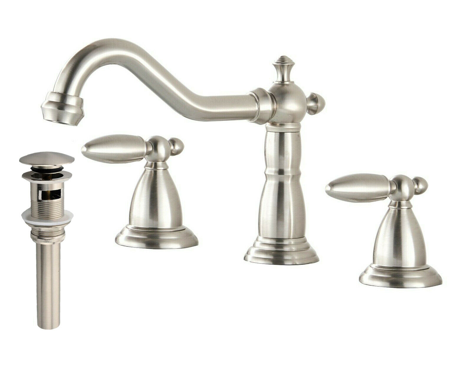 9 Of 11 Waterfall Spout Brushed Nickel Bathroom Faucet Tub Sink Mixer Tap  Deck Mount Tap