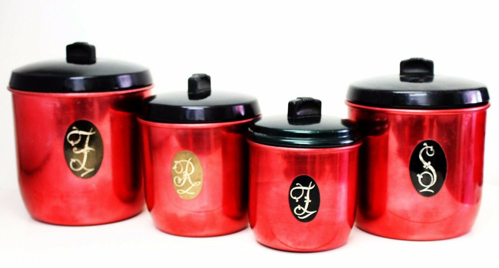 Vintage canister set red anodised aluminium retro for Kitchen set red