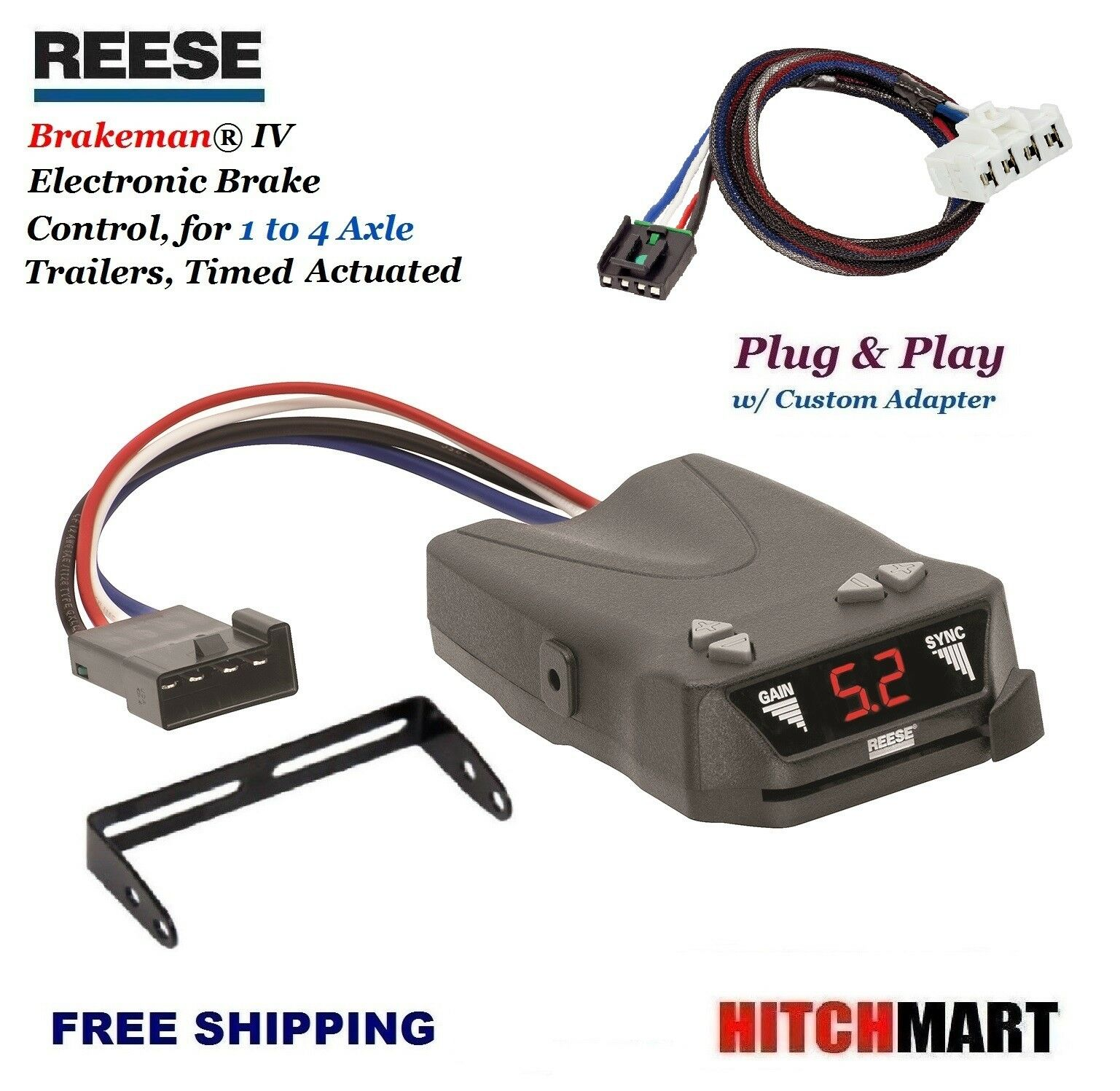 REESE TRAILER BRAKE CONTROL w ADAPTER FOR DODGE DURANGO, DAKOTA RAM PICKUP  83504 1 of 5Only 0 available ...