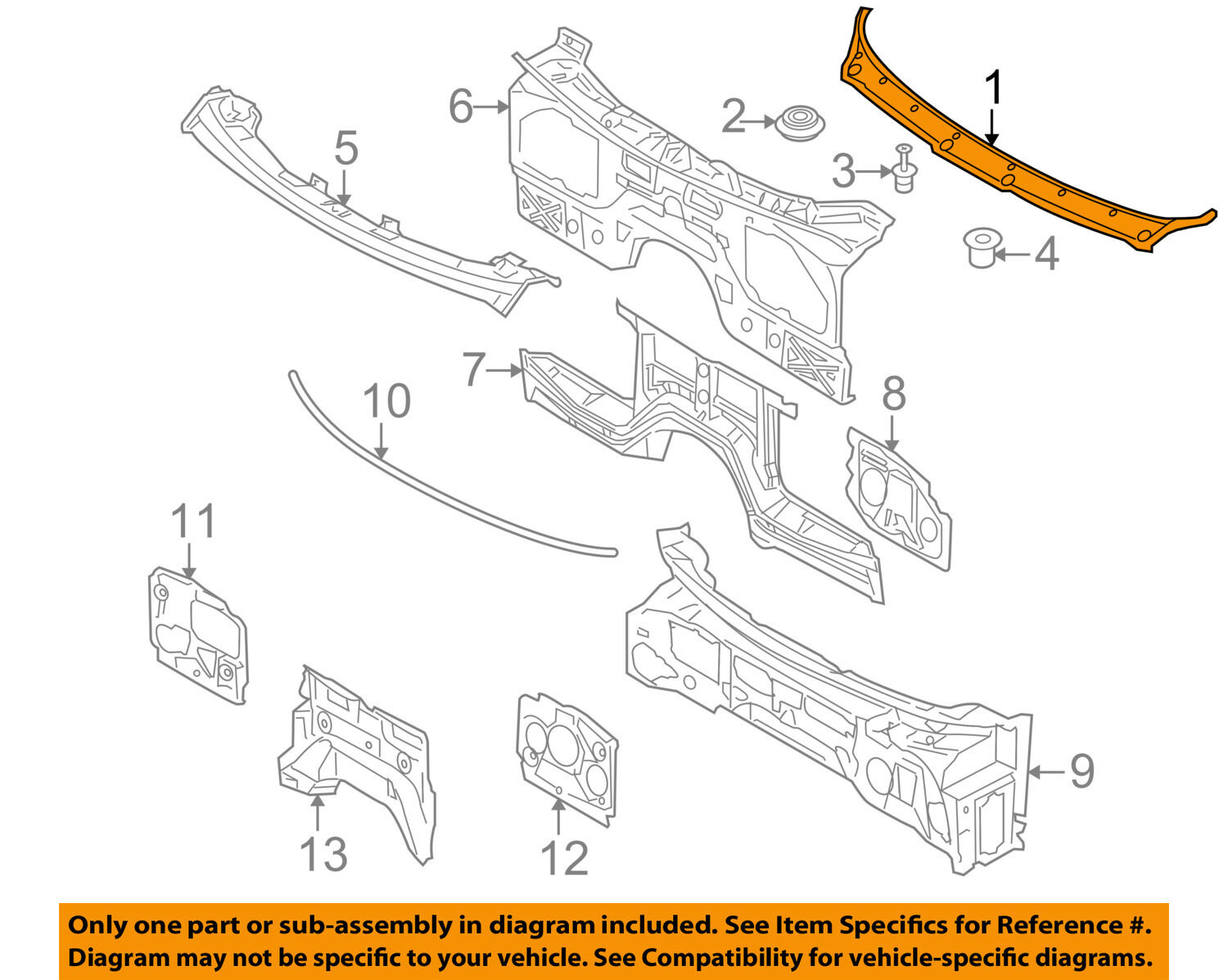 Bmw Oem 08 14 X6 Cowl Panel Windshield Wiper Motor Cover 51717151969 Wiring Diagram 1 Of 2only Available