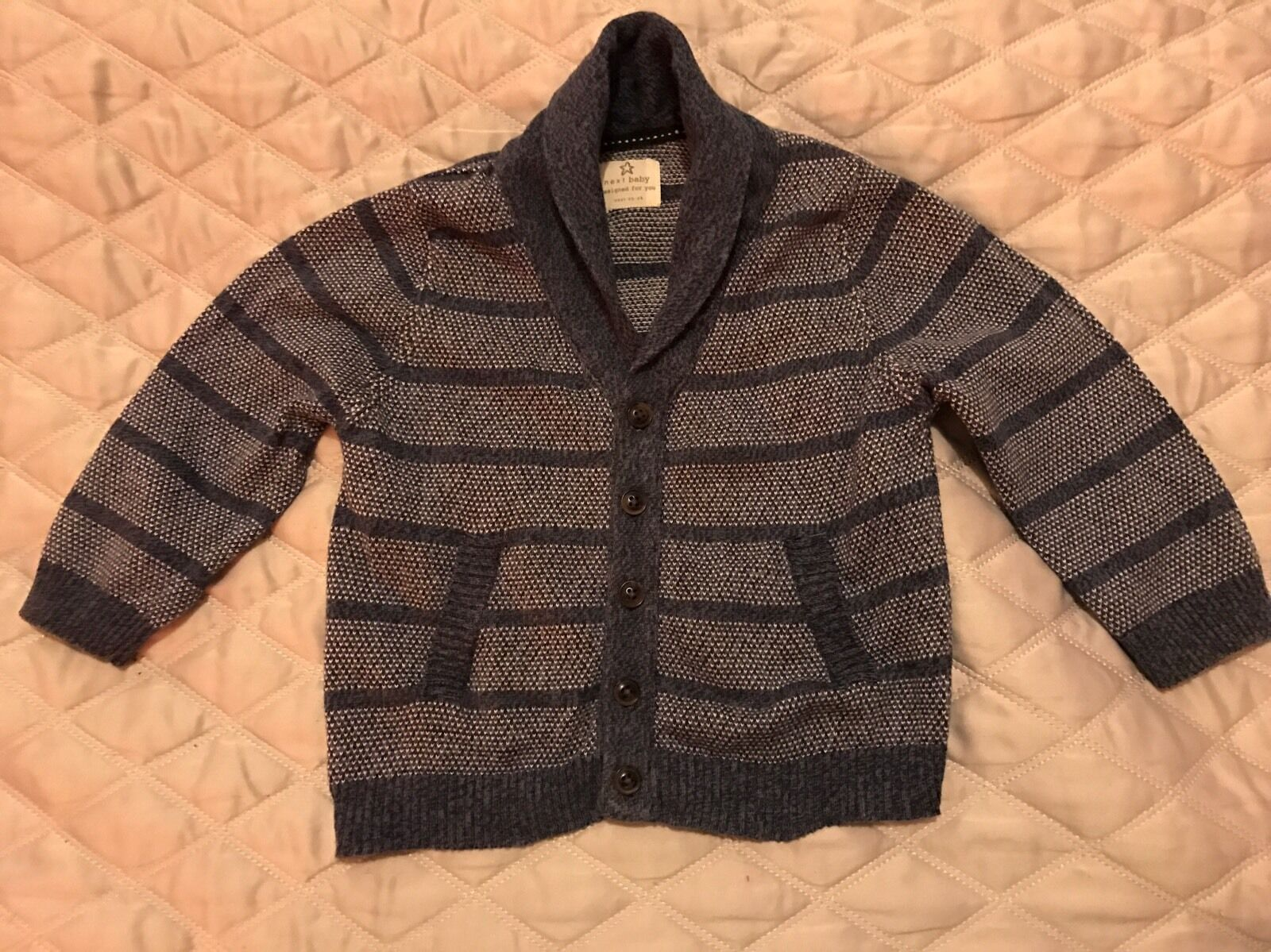 Knitting Pattern Cardigan For 18 Months : Baby Boys Knitted Next Cardigan, 12-18 Months, Navy and Blue Striped   ?0.99 ...