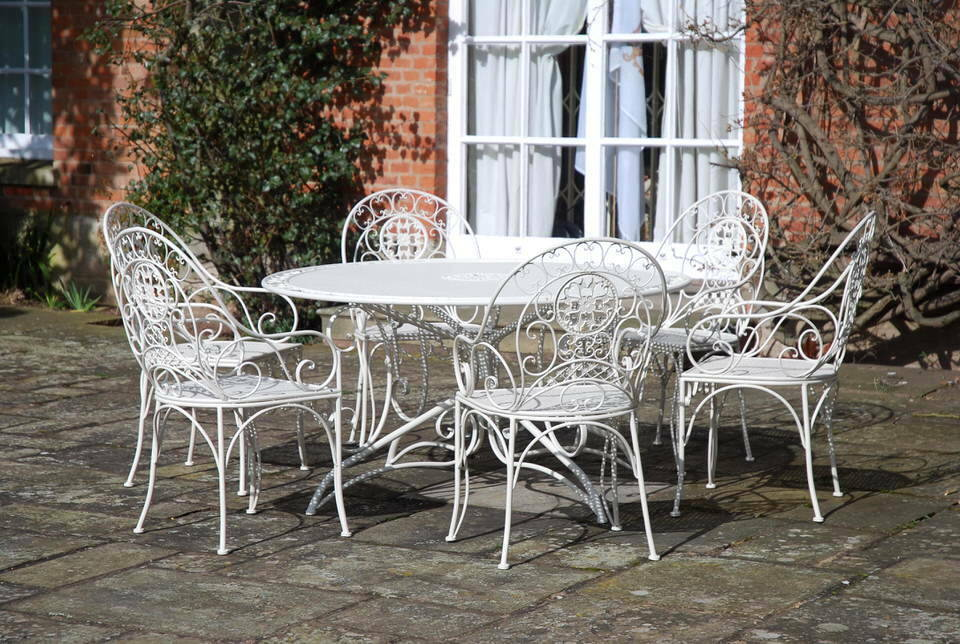 Vintage Cream Wrought Iron Metal Garden Patio Dining Furniture Table 6 Chairs