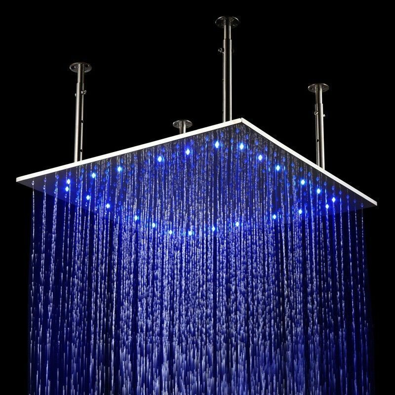 24X24 INCH LED Stainless Steel Ceiling Waterfall Rain Shower Head ...