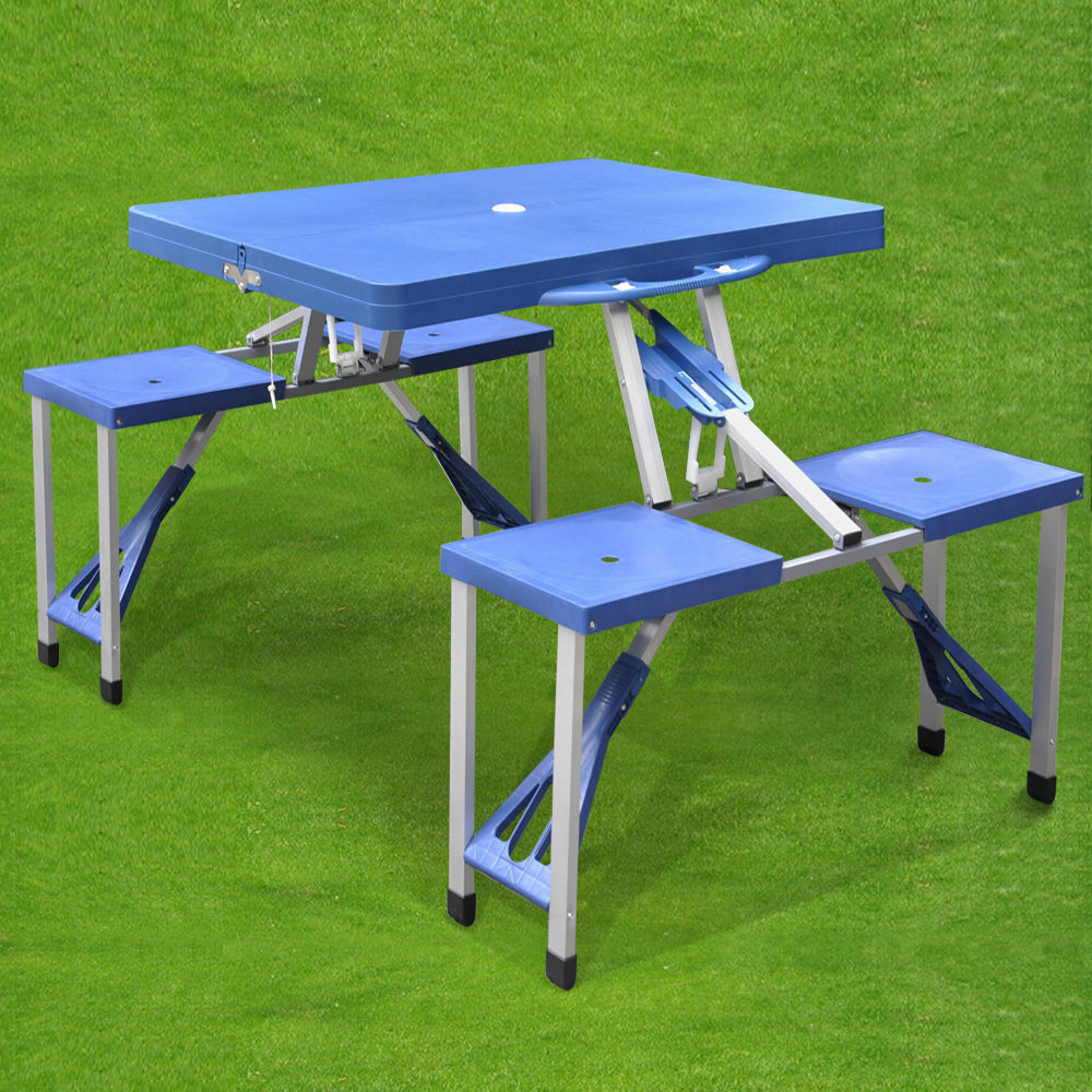 new portable folding picnic table with chairs bbq camping. Black Bedroom Furniture Sets. Home Design Ideas