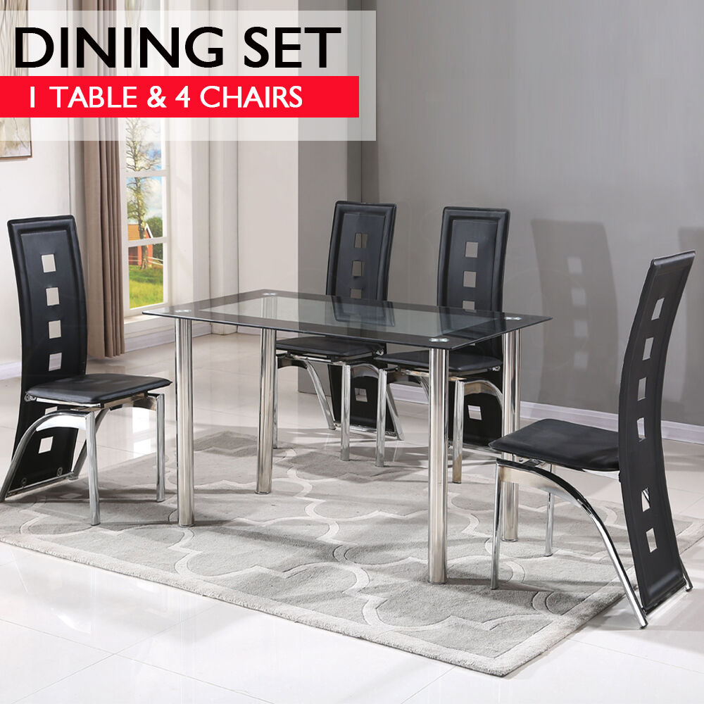 Contemporary dining set with table and 4 chairs black for Modern kitchen table sets