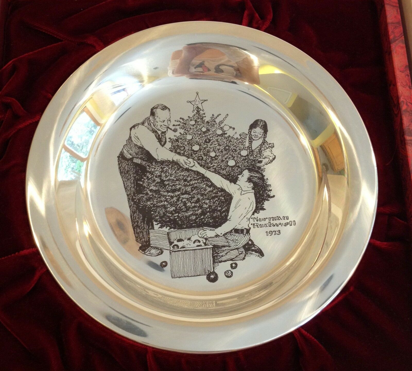 TRIMMING THE TREE Norman Rockwell Sterling Silver Christmas Plate ...