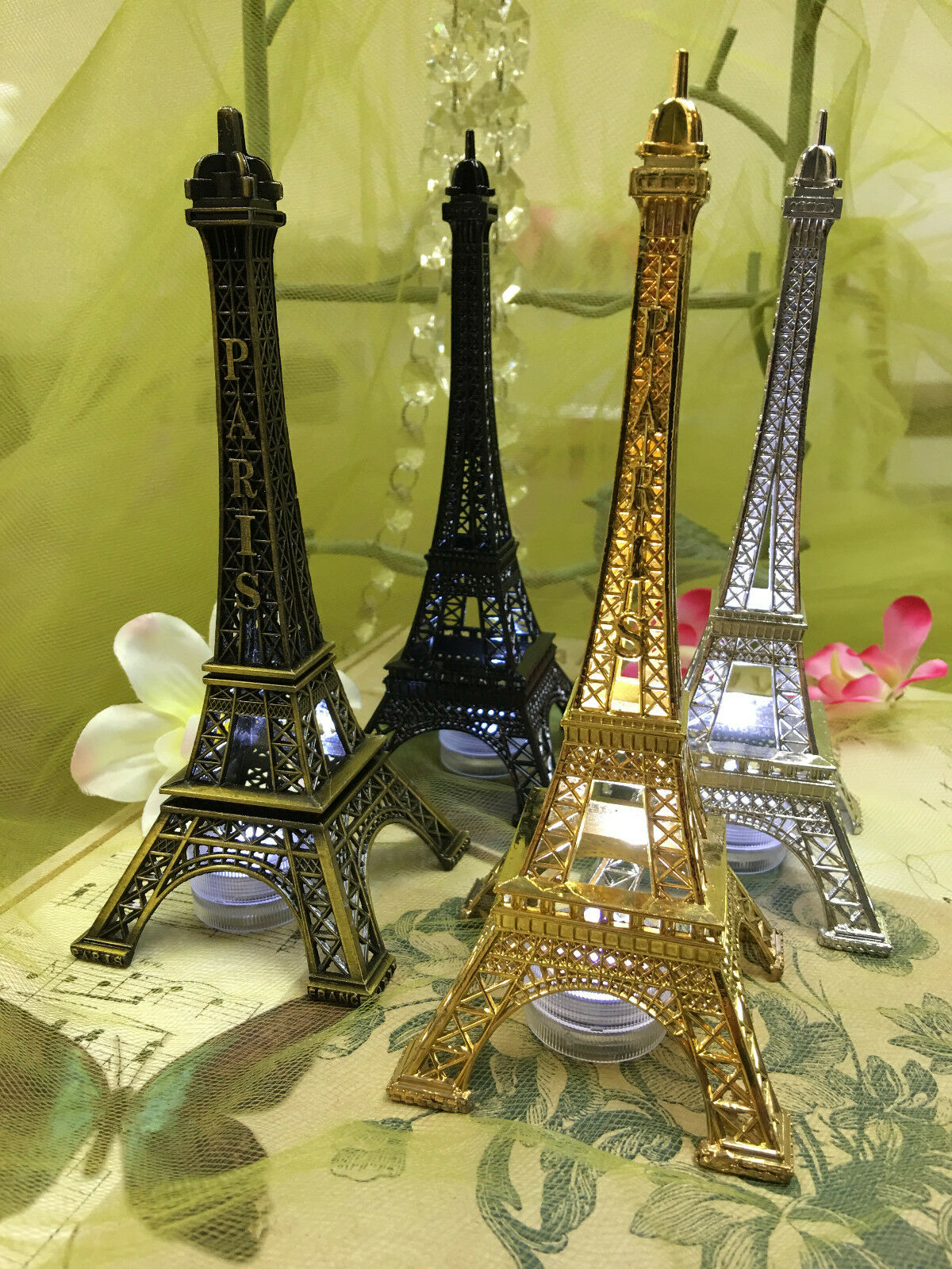 EIFFEL TOWER PARIS Metal Stand Model Table Decor w/Extra LED ...