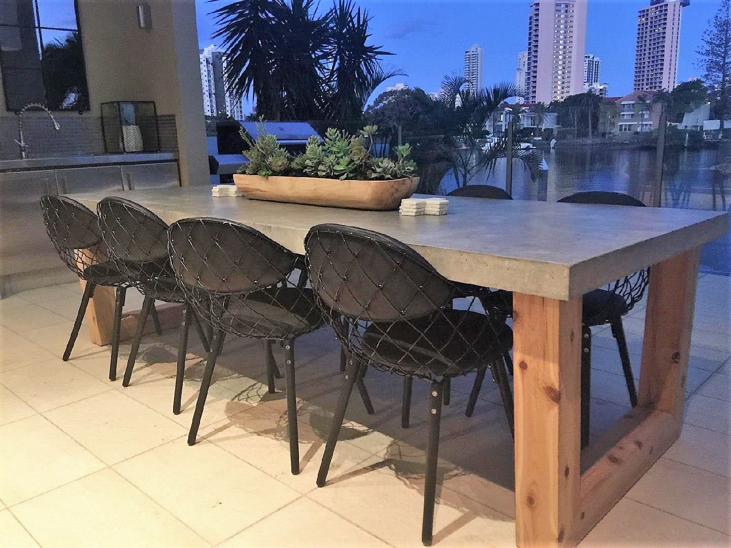 10 seater concrete timber dining table indoor for Outdoor furniture 12 seater