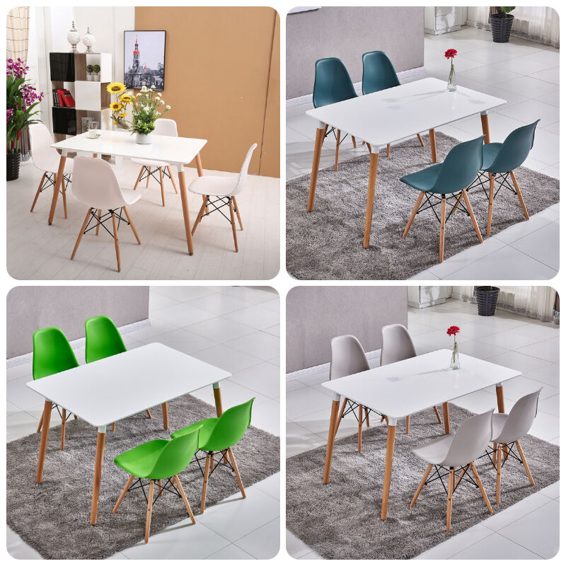 Rectangle Colorful Eiffel Dining Table And 4 Chairs Wood
