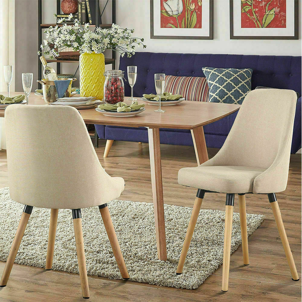2 upholstered dining chairs linen fabric morden mid for Upholstered linen dining chairs