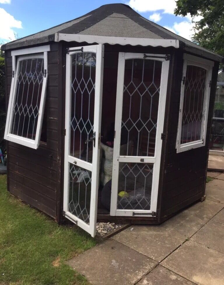 Large summer house garden shed picclick uk for Garden shed large