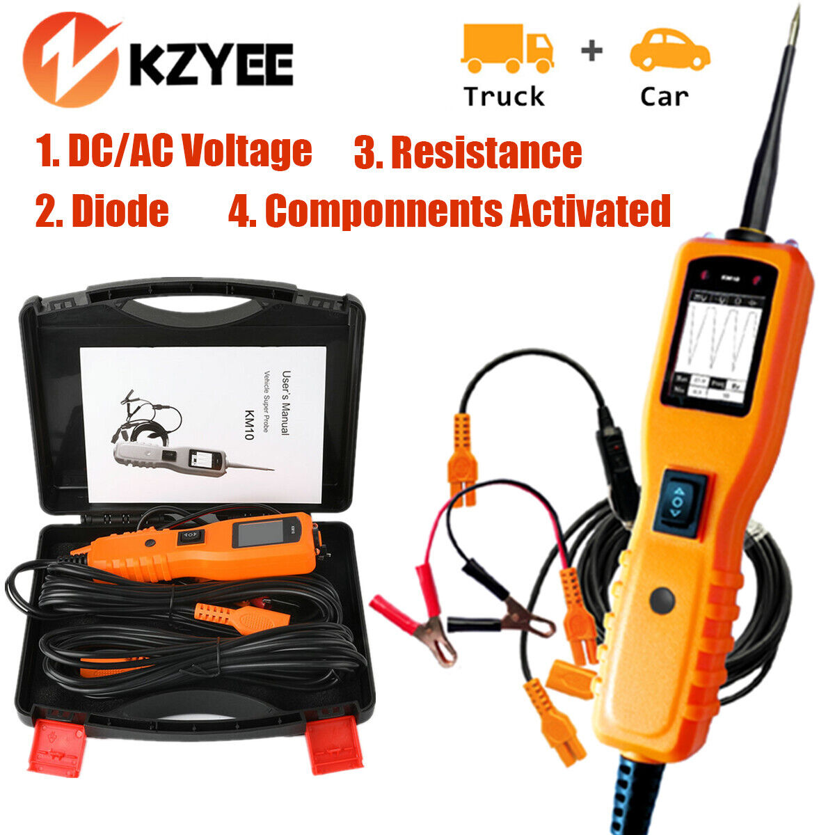 Kzyee Km10 Car Circuit Tester Electrical System 12v 24v Volt Power Lcd Led Digital Voltage Continuity Ebay 1 Of 10only Available