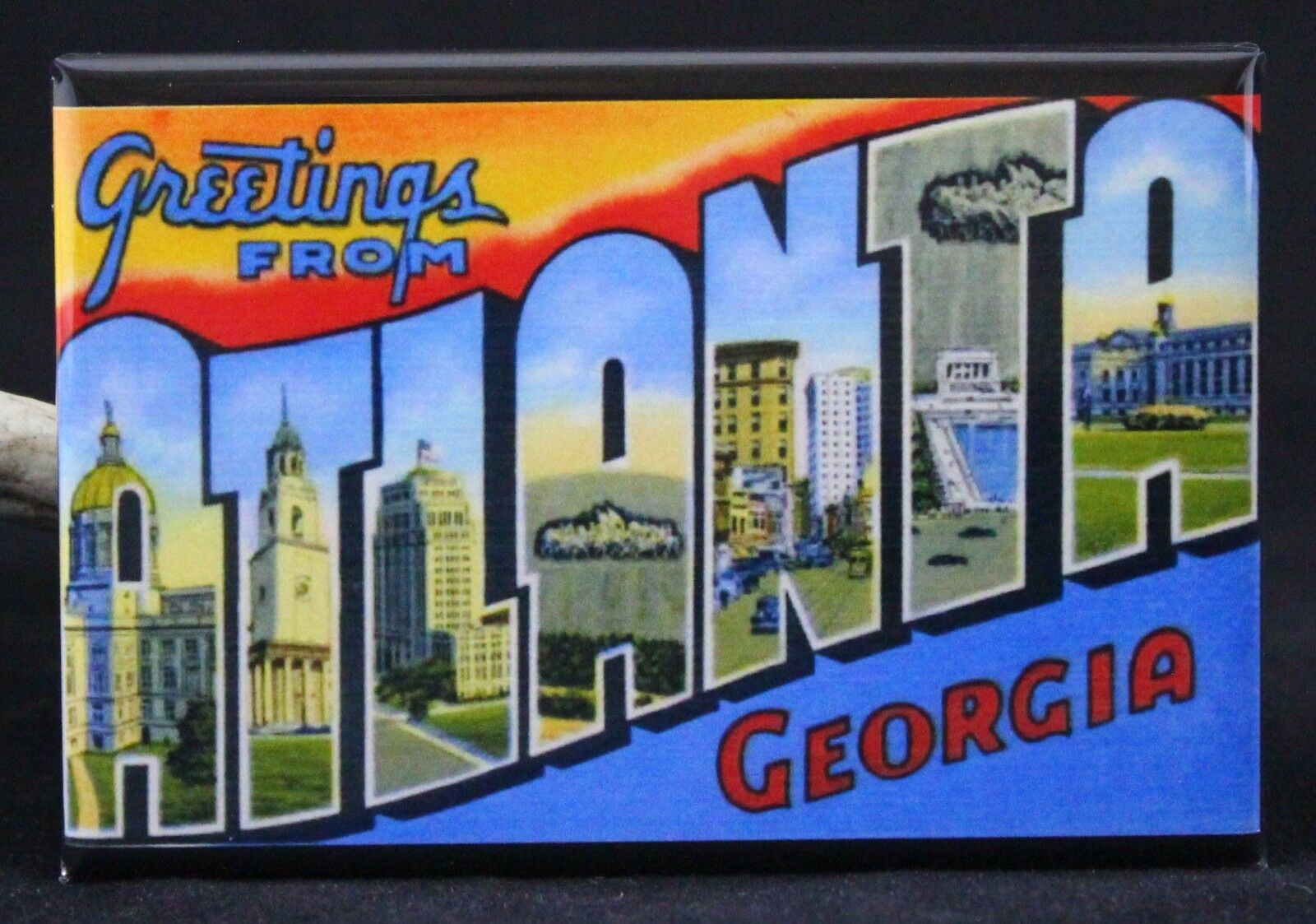 Greetings From Atlanta Vintage Postcard 2 X 3 Fridge Magnet