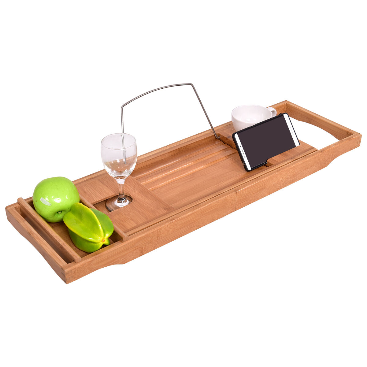 BAMBOO BATHTUB CADDY Shower Rack Bath Tub Tray Organizer Holder ...