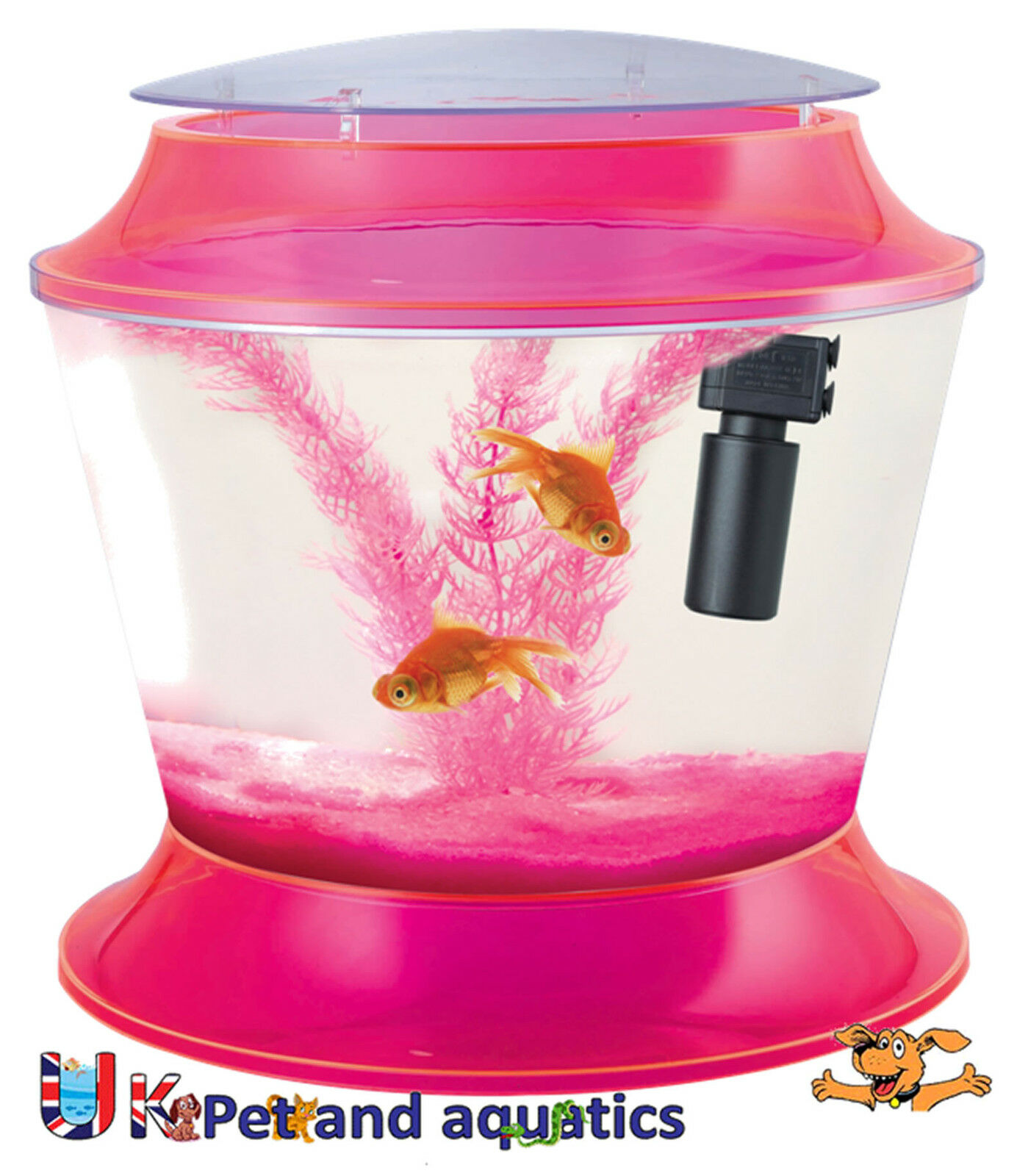 Fish R Fun, Kids Plastic Fish Bowl Pink, With Filter, Gravel & Plant, 17L