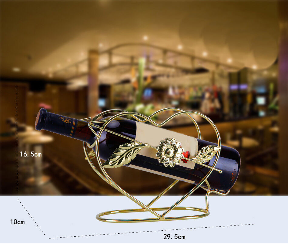 New European Decoration Golden Wrought Iron Heart-Shaped Wine Rack Holder &$