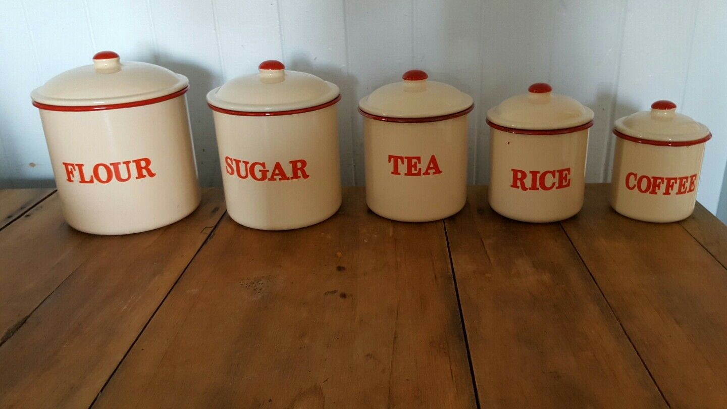 100 enamel kitchen canisters set of 3 tea coffee sugar