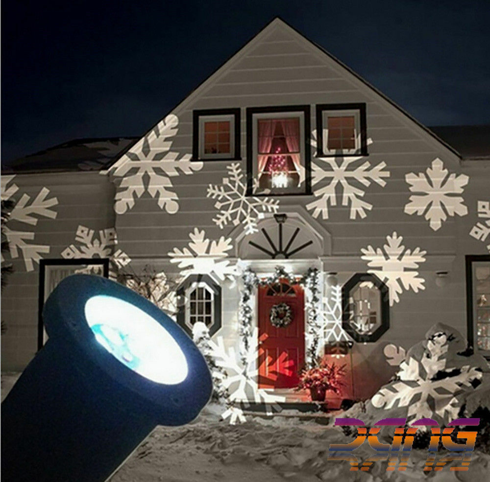 Moving Outdoor LED Snowflake Laser Light Projector Xmas Chrismas Lamp