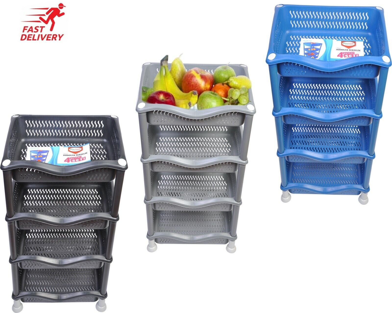 4 TIER FRUIT Vegetable Rack Kitchen Pantry Storage Rack kitchen ...