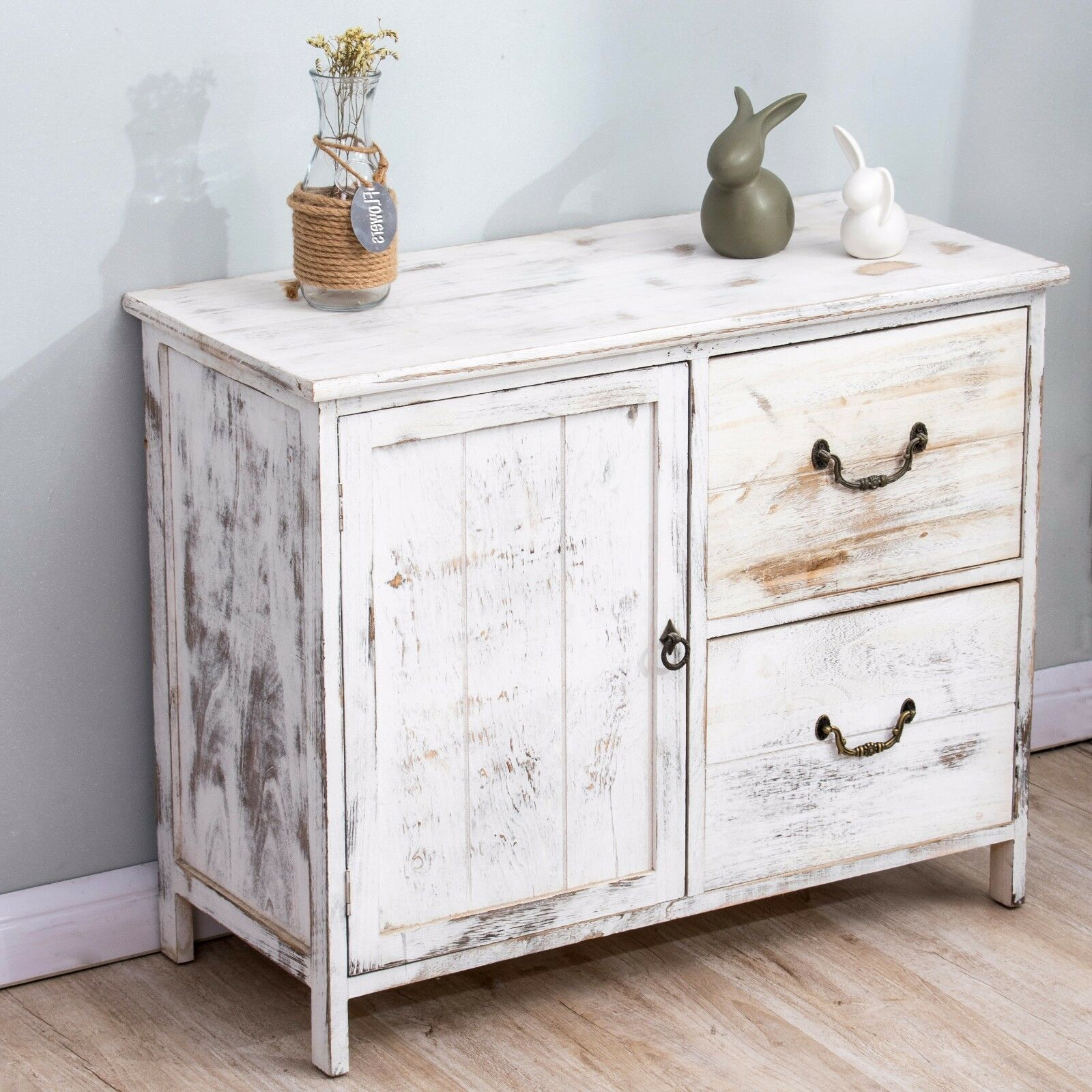 ctf distressed white paulownia wood shabby chic sideboard drawer chest picclick uk. Black Bedroom Furniture Sets. Home Design Ideas