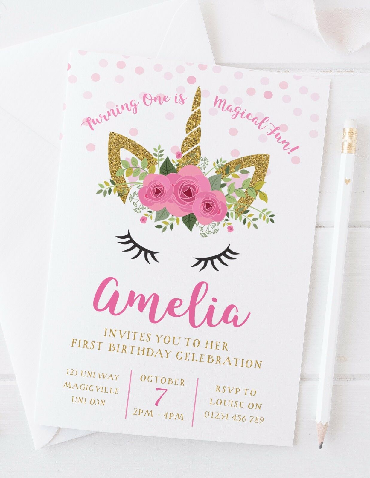 10 PERSONALISED UNICORN First Birthday Invitations Or Thank You ...