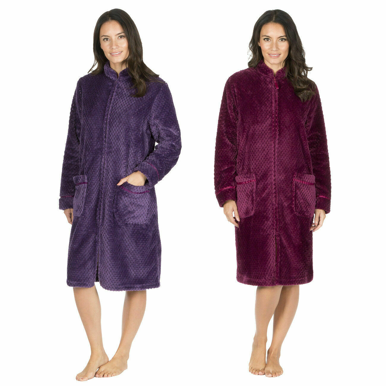 FOREVER DREAMING LADIES Fluffy Waffle Fleece Zip Up Dressing Gown ...