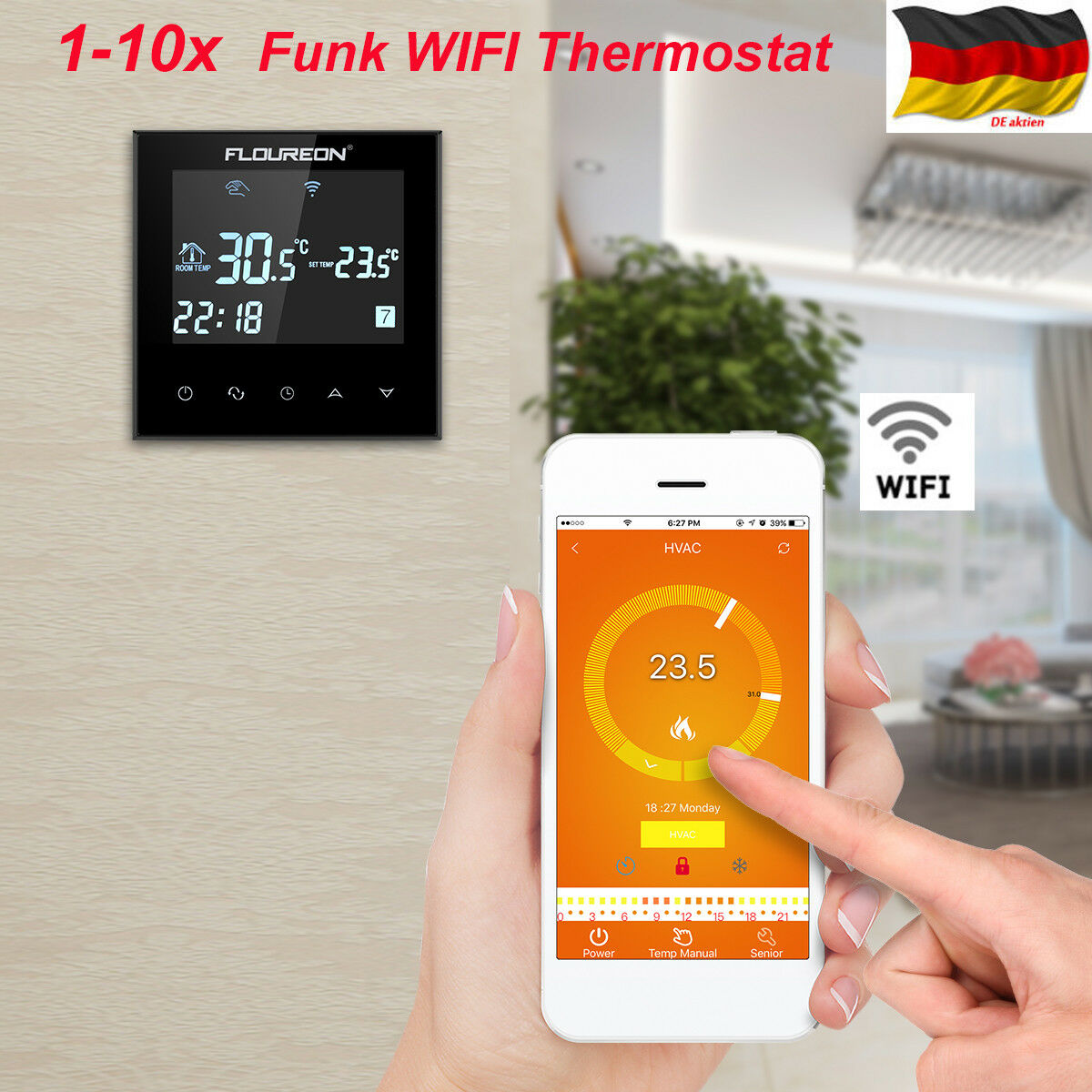 1 10stk wifi digital funk thermostat fu bodenheizung lcd raumregler touchscreen eur 24 99. Black Bedroom Furniture Sets. Home Design Ideas